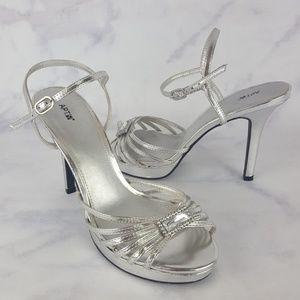 Apt. 9 Silver Strappy Rhinestone Sandal High Heels